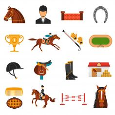 Buy Flat Color Icons Set With Horse Equipment by macrovector on GraphicRiver. Flat color icons set with equipment for horse riding isolated vector illustration. Editable EPS and Render in JPG format Sketch Design, Icon Design, Icon Set, Adobe Illustrator, Tropical Frames, Side Portrait, Horse Logo, Story Instagram, Dressage Horses