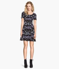 H&M Jersey Dress: Short dress in jersey with short sleeves and a gently flared skirt.