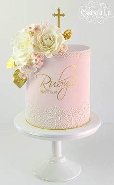 Baptism cake in pink with hand painted name and sugar flowers - by Caking It Up