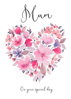 watercolour-floral-heart-mothers-day-birthday-jpg Watercolor Heart, Watercolor Cards, Watercolor Flowers, Watercolor Paintings, Watercolour, Heart Illustration, Watercolor Illustration, Mothers Day Cards, Happy Mothers Day