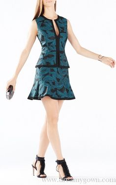 BCBG Suni Feather Jacquard Peplum Dress Short