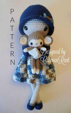 Leah and her Monkey Amigurumi Doll Crochet Pattern PDF