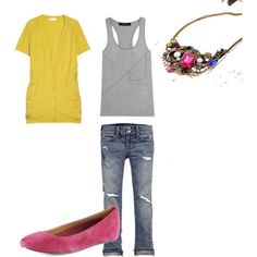 Gray, Yellow,minus the shoes, i know I just couldn't do pink with this outfit