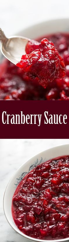 Classic, easy and delicious Thanksgiving cranberry sauce! Learn how to make cranberry sauce from scratch. It's so EASY! Perfect with turkey.