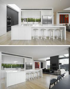 12 Inspirational Examples Of Letterbox Windows In Kitchens // Tucked slightly into the wall, the letterbox window sits slightly above the countertop and brightens up the stove-top area with views out to the private front yard.