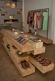 Vintage boutique in downtown Phoenix....I like all the wood utilized for display