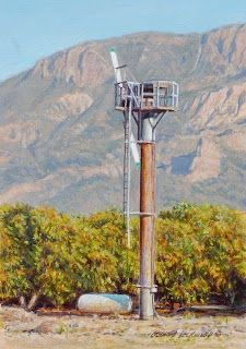 Wind Machine and Avocados 7x5, painting by artist George Lockwood