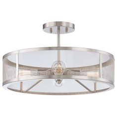 Downtown Edison Brushed Nickel Four Light Semi Flush Mount Minka Lavery Semi Flush Flush &