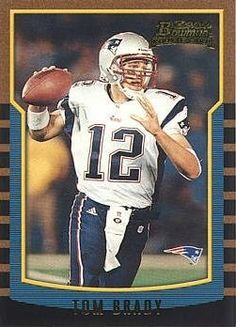 2000 Bowman Football Tom Brady Rookie Card by Bowman. $69.95. 2000 Bowman Football #236 Tom Brady Rookie Card. Near Mint to Mint condition. Comes in a plastic top loader for its protection.