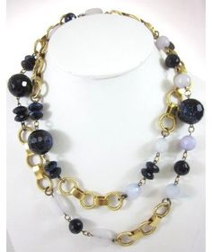 New Erikson Beamon Gold Plated Chain Blue White Shimmer Beaded Necklace | eBay