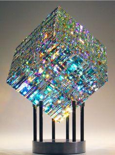 Sculpture triple cut cube x sitting on base Limited Collection Size: 50 pieces glass art Magik Chroma Cube Verre Design, Glass Design, Dichroic Glass, Fused Glass, Glass Beads, Jack Storms Glass, Theme Galaxy, Cristal Art, L'art Du Vitrail
