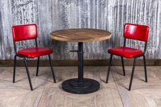 Add a pop of colour to an industrial style interior with our red 'Chelmsford' chair. Also available in tan, clay, chocolate, blue or yellow! #colourful #table #chairs #leatherchairs #leather #seating #vintagestyle #industrialstyle #furniture #barfurniture #restaurantfurniture #cafefurniture #bright #colourpop