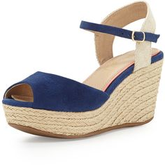 Splendid Ganes Espadrille Wedge ($89) ❤ liked on Polyvore featuring shoes, sandals, platform wedge sandals, strappy wedge sandals, peep toe sandals, espadrille wedge sandal and wedge sandals