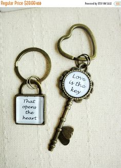 CLOSE SHOP SALE Love is the key that opens the heart glass tile keychains, his hers, wedding, anniversary, couple gift, husband wife