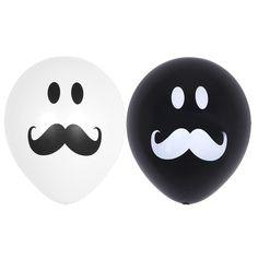 50X Black & White Latex Balloons Smile Mustache Assorted Birthday wedding Party #Joyparty #BirthdayChild