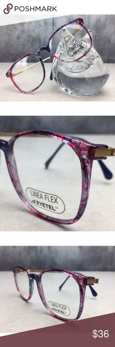 DEAD STOCK VINTAGE EYETEL COLORFUL ITALIAN FRAMES! DEAD STOCK VINTAGE EYETEL COLORFUL ITALIAN FRAMES! Amazing vintage glasses with a marbled colorful finish, matte gold arms with blue arm ends! Inside arms are marked LINA FLEX ITALY! These are the original lenses, never used! Colors are great to pair with a colored lens; reds, blue, purple and pink hues! Perfect shape frame that is very current right now and perfect for eye or sunglasses!! Sold on vintage websites for 90$! EYETEL Accessories…