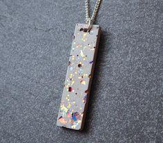 Rainbow glitter concrete necklace
