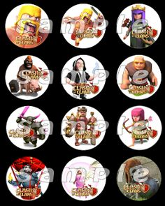 CLASH OF CLANS 2.5 ROUND STICKERS, name tag labels, labels, cup cake toppers,