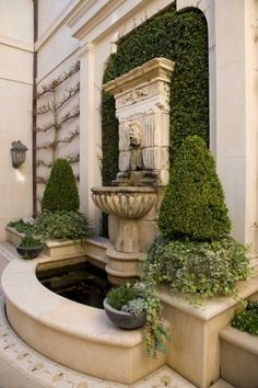 Co Co's Collection : Formal garden # structure # roses # boxwood. Antique wall f. - Co Co's Collection : Formal garden # structure # roses # boxwood. Antique wall fountain with fig - Water Features In The Garden, Garden Features, Formal Gardens, Outdoor Gardens, Landscape Design, Garden Design, Garden Fountains, Fountain Garden, Garden Water