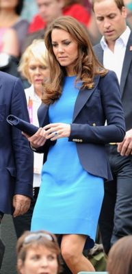 Kate Middleton, blue dress and navy blazer William, blue suit