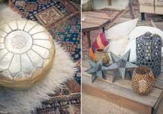 Moroccan Inspired Dinner Party. Gold Poufs and rustic accents.
