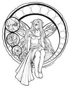 Stained Glass Fairy Lineart By OtakuEC Deviantart Find This Pin And More On Coloring Books