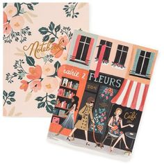 Rifle Paper Co. Parisian Notebook Set ($18) ❤ liked on Polyvore featuring home, home decor, stationery and multi