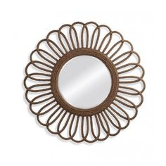 Large Jute Rope Wred Flower Shaped Wall Mirror