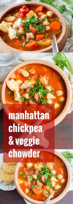 This vegan spin on Manhattan clam chowder is made with hearty chickpeas, potatoes and veggies simmered in a savory herbed tomato base.