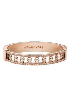 ♥ #Holiday #Specials  ~ #MichaelKors exclusively at #Capri #Jewelers #Arizona ~http://www.caprijewelersaz.com/Michael-Kors/34700001/EN ♥ Michael Kors 'Monogram' Logo Hinged Bangle