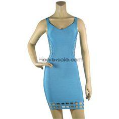Herve Leger Light Blue A-line Bandage Dress HL578LB