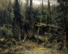 A landscape painting commissioned to act as a visual record of an old growth forest, capturing the wet and foggy atmosphere that was so common there. Šumava forest, by Czech landscape painter, Julius Mařák. Barbizon School, National Theatre, Artist Life, Landscape Paintings, Landscapes, Love Art, New Art, Oil On Canvas, Abstract