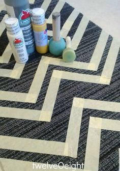 DIY Painted Chevron Rug--good directions on how to paint an inexpensive carpet/rug--good idea for the foyer