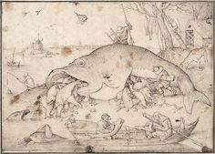 Big #Fish Eat Little Fish by Pieter #Bruegel the Elder, #pen and #brown #ink #drawing on #paper 1556, Fine #Art #Reproduction #Prints . #renaissance #fineart #print #reproductions #posters #surreal #surrealism #bosch #fishing #knife #boat #water #allegory #sin