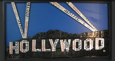 Aaron Foster Hollywood Sign made from license plates | #wallart | thepicketfence.com