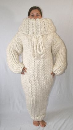 10 kg Sweater dress gigantic monster chunky sweater dress turtleneck hood merino sheep wool thick knit for men hand knitted by Strickolino Big Sweater Outfit, White Sweater Dress, Pullover Outfit, Legging Outfits, Wool Dress, Knit Dress, Gros Pull Mohair, Overall, Knitwear