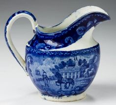 Northeast Auctions 8/20/16 Lot: 29.   Estimate: $400 - 600. Realized: $600 (500).   Description: 'MOUNT VERNON, THE SEAT OF THE LATE GEN'L WASHINGTON,' RARE STAFFORDSHIRE DARK BLUE TRANSFER-PRINTED CREAM PITCHER OF UNUSUAL FORM, UNKNOWN MAKER, EARLY NINETEENTH CENTURY. Of ewer form, the interior of the spout printed with a floral roundel. Height 3 ⅞ inches. [Crack visible in handle near it's base].  Provenance: William & Teresa Kurau Antiques, Lampeter, Pennsylvania, July 24, 1996.