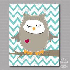 8x10 Aqua Chevron  Sleeping Owl  Wall Art  JPEG by DelightfulOrder, $6.00