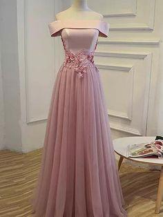A-line Off-the-shoulder Floor-length Short Tulle Prom Dress/Evening Dr - DemiDress.com