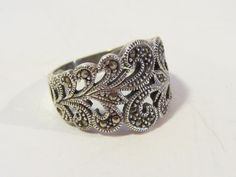 Vintage Art Deco Sterling silver 925 Marcasite Band ring size 6. $24.00, via Etsy.