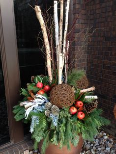 Van Belle's Florist in Courtice & Ajax Durham Region offers a Christmas Experience, with photos with Santa, Wreath, Urn and Centerpiece classes and seminars & more. Outdoor Christmas Planters, Christmas Urns, Front Door Christmas Decorations, Rustic Christmas, Christmas Wreaths, Christmas Crafts, Christmas Ornaments, Holiday Decor, Winter Planter