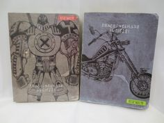 Unique robot and motorcycle notebooks