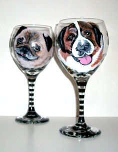 Pet Portrait Custom Hand Painted Wine Glasses On 2 20 oz.