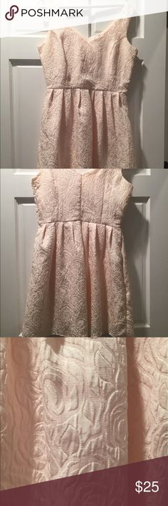 Rose colored dress Spring/summer dress with rose pattern imprinted onto the dress. It is an off white/light pinkish color dress that goes above the knee. Only worn once - in great condition Francesca's Collections Dresses Midi
