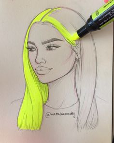 The image may contain: drawing - - - - How to draw people - Girl Drawing Sketches, Cool Art Drawings, Pencil Art Drawings, Cartoon Drawings, Drawing Art, Arte Sketchbook, How To Draw Hair, Cute Art, Book Art