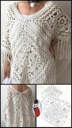 Crochet Cardigan Pattern, Crochet Blouse, Crochet Lace, Crochet Patterns, Bobble Stitch Crochet, Finger Crochet, Crochet Woman, Crochet Clothes, Mantel