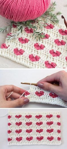 Crochet Heart Stitch Blanket - Design Peak Knitting For BeginnersKnitting For KidsCrochet PatronesCrochet Ideas Crochet Heart Blanket, Crochet Blanket Patterns, Crochet Stitches, Knitting Patterns, Pattern Sewing, Blanket Yarn, Sewing Stitches, Crochet Afghans, Crochet Simple