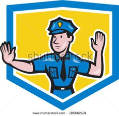 Illustration of a traffic policeman police officer making a stop hand signal gesture set inside crest shield done in cartoon style on isolated background. - stock vector #policeman #cartoon #illustration
