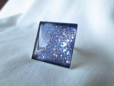"""Rainbow Purple Mixed Glitter Nail Polish Adjustable Ring: 25mm / 1"""" Glass Square in Silver Tray Ring Setting"""