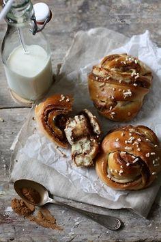 cinnamon rolls and milk